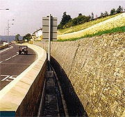 Gabion retaining wall along a motorway